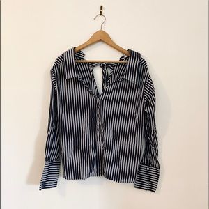 Navy blue and white stripped button down